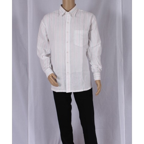 Handwoven White Shirt With Grn And Pink Stripes