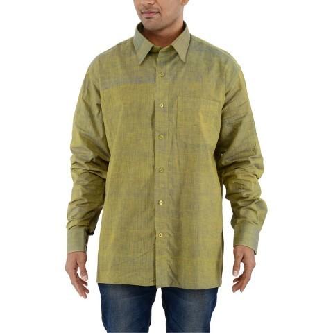 Khadi Nation Green Handwoven Formal Shirt