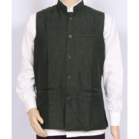 Khadi Nation Handwoven Green Waist Coat