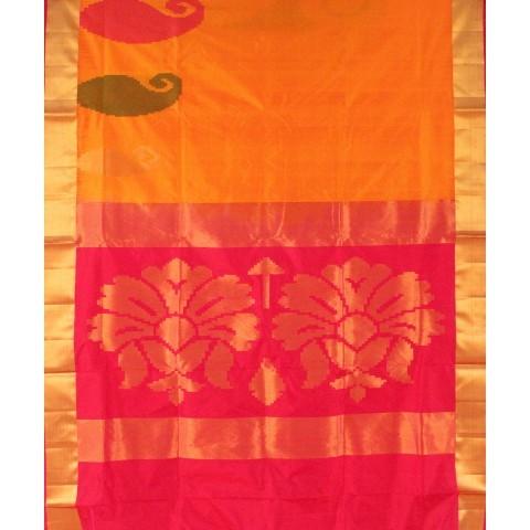 Mango Yellow Floral Handwoven Silk Saree