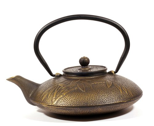 Cast Iron Teapot Bamboo Gold