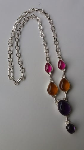 German Silver Necklace With Imitation Stones