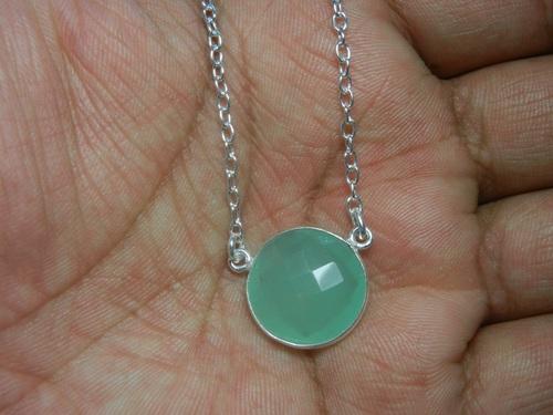 Aqua Chalcedony Silver Necklace