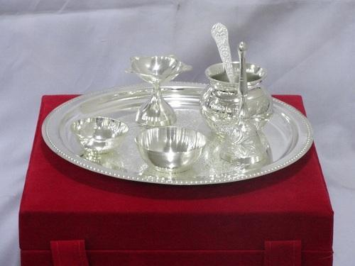Silver Plated Pooja Thali Set in Pusa Road : silver plated pooja set - pezcame.com