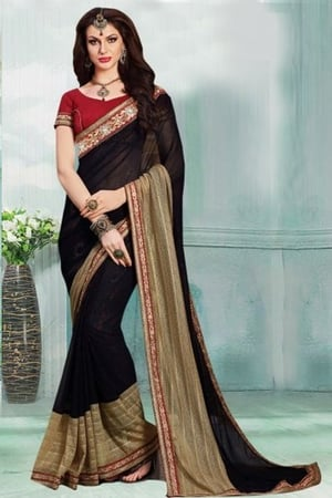 Black And Beige Party Wear Faux Satin Chiffon And Lycra Saree