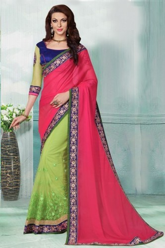 Fuchsia and Parrot green Party Wear Faux chiffon jacquard and Net Saree