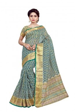 Green Traditional Wear Cotton Saree