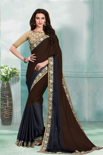 Shaded Brown and Dark Blue Party Wear Faux Satin Georgette Saree