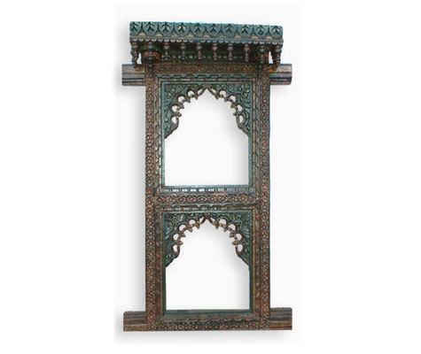 Wooden Carved Double Windows Mirror Frame Gujarat Handicrafts No