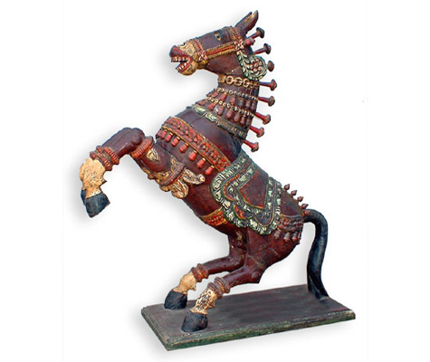 Wooden Carved Jumping Horse Gujarat Handicrafts No 372 Opposite