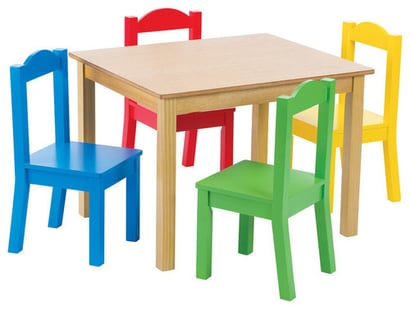 Big Rectangle Table With Four Colorful Chairs