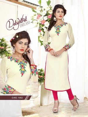 Georgette Off White Embroidered Readymade Kurti