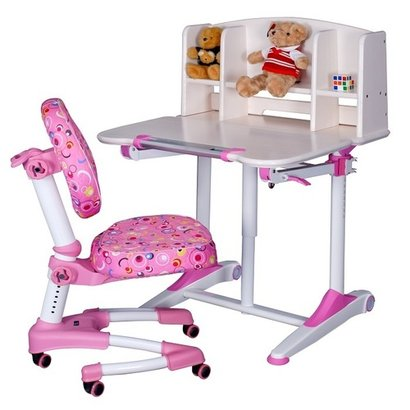 White and Pink Color Plastic Study Table