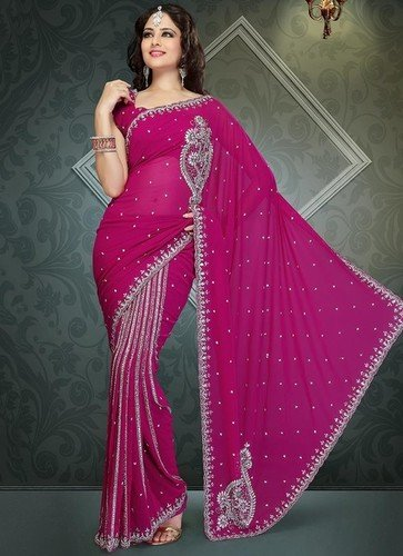 Alluring Stones Hot Pink Ready Pleated Saree