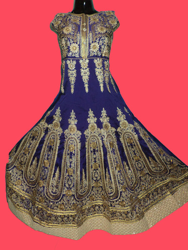 Ladies Indowestern Raw Silk Gown in  Mahavir Bazar