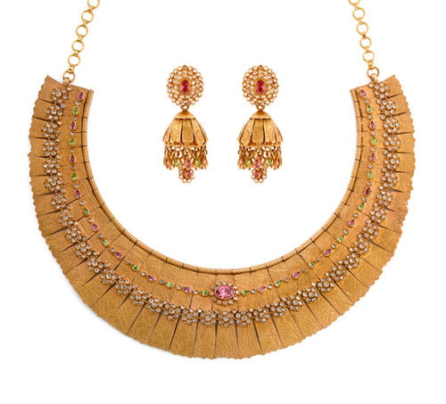Hand crafted gold kolhapuri necklace set in chennai tamil nadu hand crafted gold kolhapuri necklace set in t nagar aloadofball Image collections
