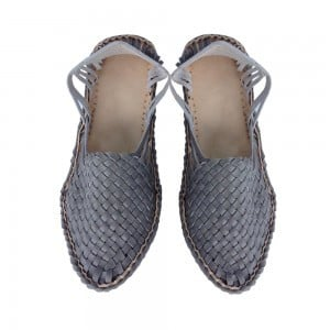 Gray Color Cross Lace Handmade Leather Full Shoe