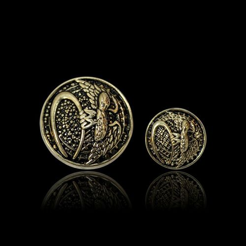 Gold Round Button With Antique Finish