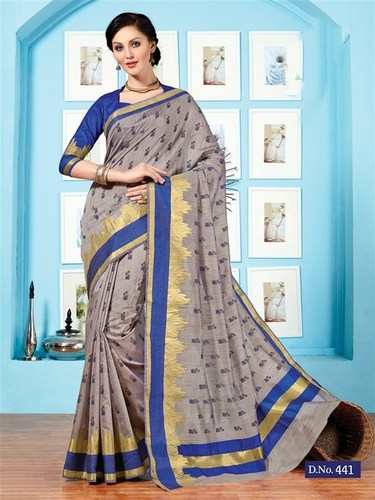 Grey Blue Fancy Cotton Printed Saree With Blouse Fabric in  Sea Woods