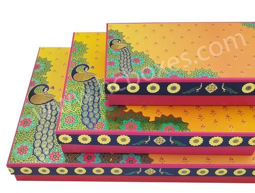Peacock Design Mithai Packaging Box