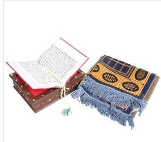Holy Quran With Tasbeeh And A Blue Velvet Prayer Mat