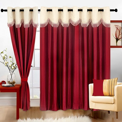 Polyester Maroon Solid Long Door Curtain