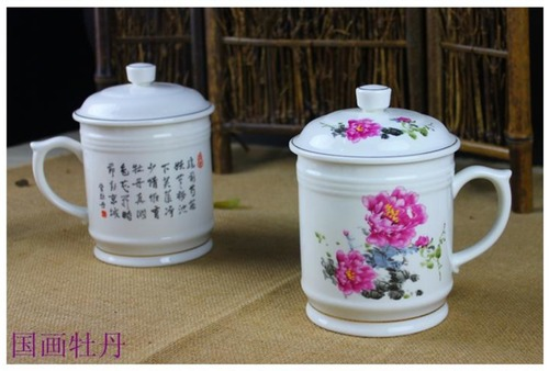 Chinese Painting Peony Tea Cup