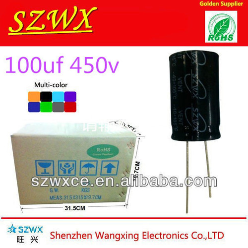 High Voltage 100UF 450V Snap-In Type Aluminum Electrolytic Capacitors