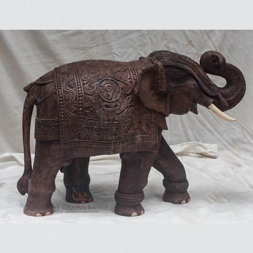 Rosewood Elephant With Carving