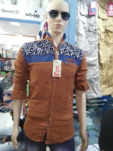Jute Velvet Print Mens Shirt in  Wadala