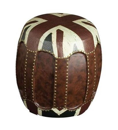 Brown Leather Puff
