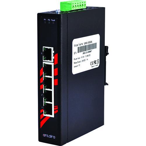 LNX-500A 5-Port 10/100TX Slim Industrial Unmanaged Ethernet Switch