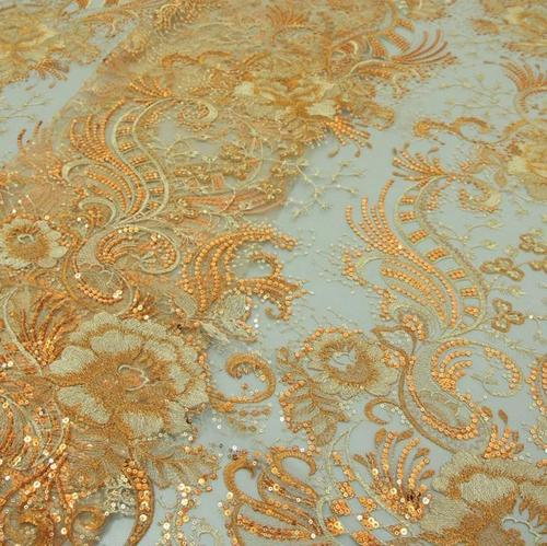 Net Embroidery Fabric With Gold