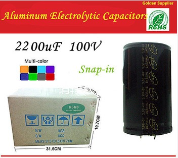2200UF 100V Snap-in Type 25*40mm Aluminum Electrolytic Capacitors