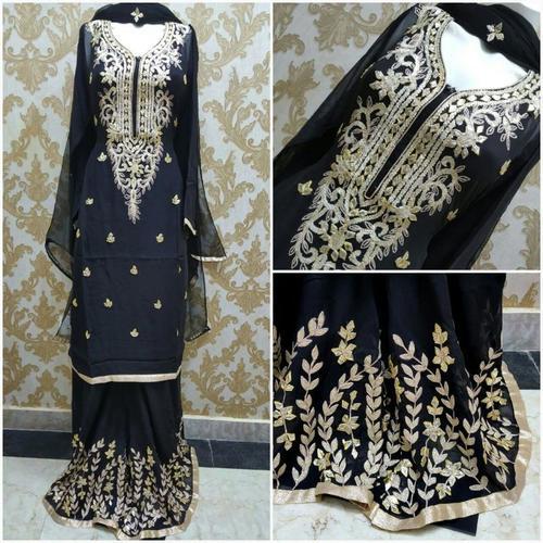 Black Gotta Patti Salwar Suit