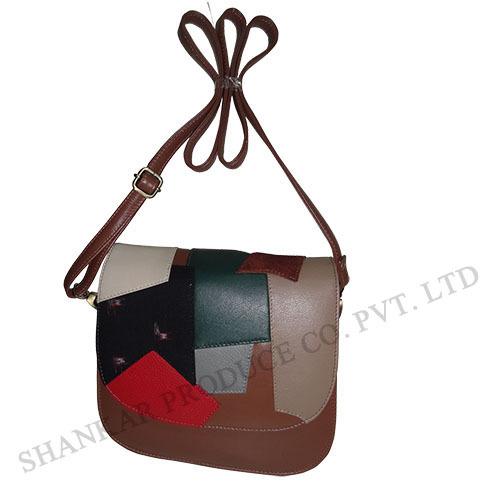 Leather Patchwork Messenger Bag