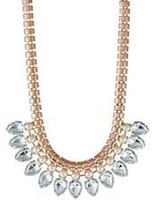 Rose Gold Coloured/Crystal/Pearl Necklace