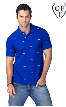 All Over Bike Embroidered Men Polo T Shirt