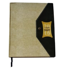 Cream Hard Cover Folder Style Executive Diary With Button