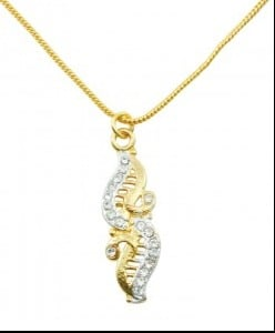 Diamond Studded Plated Gold Necklace