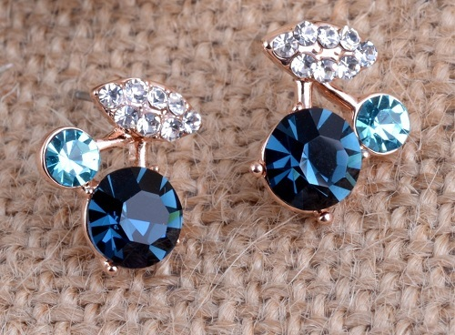 Bohemian Style Blue Crystal Earrings