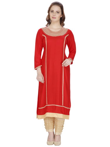 Cotton Swagg Red Mirror Work Kurti With Embroidery