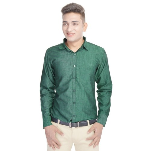 Solid Green Party Wear Shirt