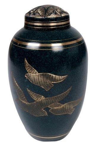 Flying Birds Brass Cremation Urn