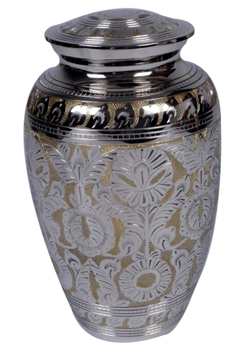 Matt Nickel Engraved Brass Metal Urn