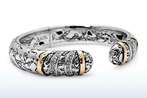 925 Sterling Silver And 18K Gold White Topaz Cuff Bracelet