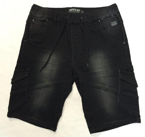 Men'S Charcoal Color Denim Jogger Short