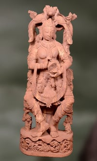 Sandstone Sculpture Divya Lady Musician Playing Cymbal
