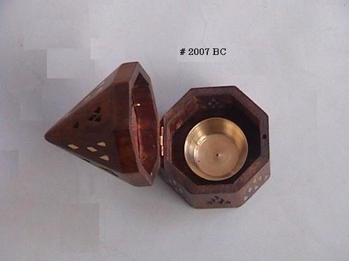 Brass Inlay Wooden Incense Resin Burner Certifications: D & B