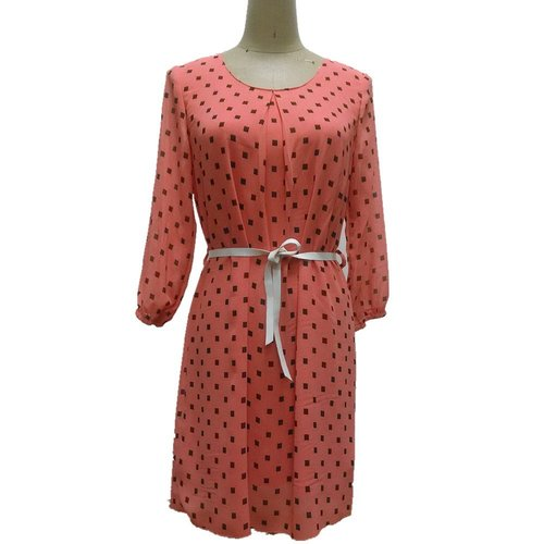 Women Pure Poly Long Sleeve Allover Print Dress